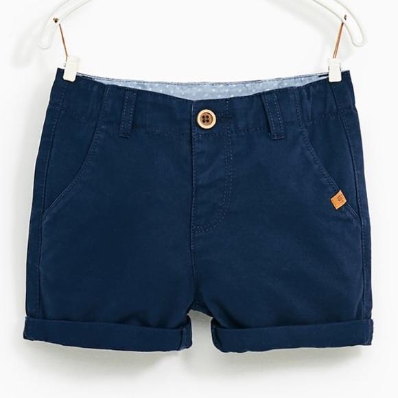 b5be86acc1 Zara Bottoms | Baby 1218m Nwt Navy Blue Cotton Chino Shorts | Poshmark